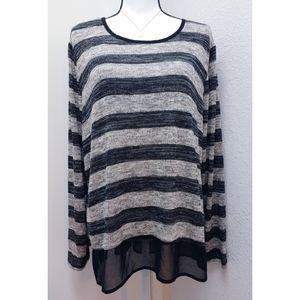 Lane Bryant black gray Striped Blouse Size 18/20
